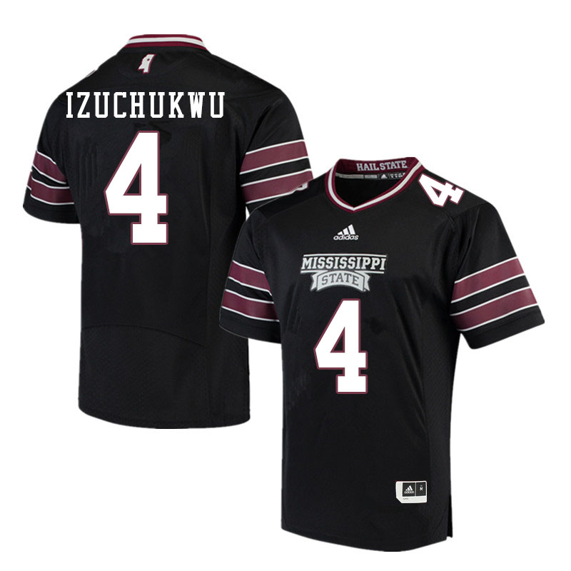 Men #4 Ani Izuchukwu Mississippi State Bulldogs College Football Jerseys Sale-Black