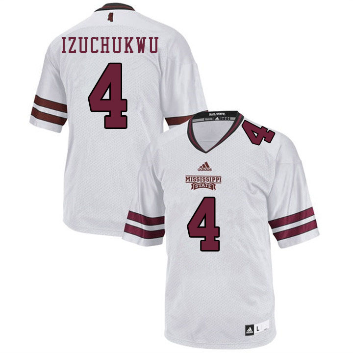 Men #4 Ani Izuchukwu Mississippi State Bulldogs College Football Jerseys Sale-White