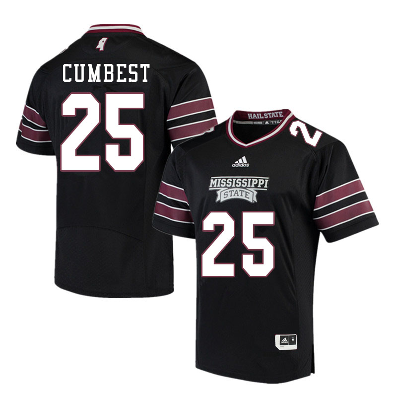 Men #25 Brad Cumbest Mississippi State Bulldogs College Football Jerseys Sale-Black