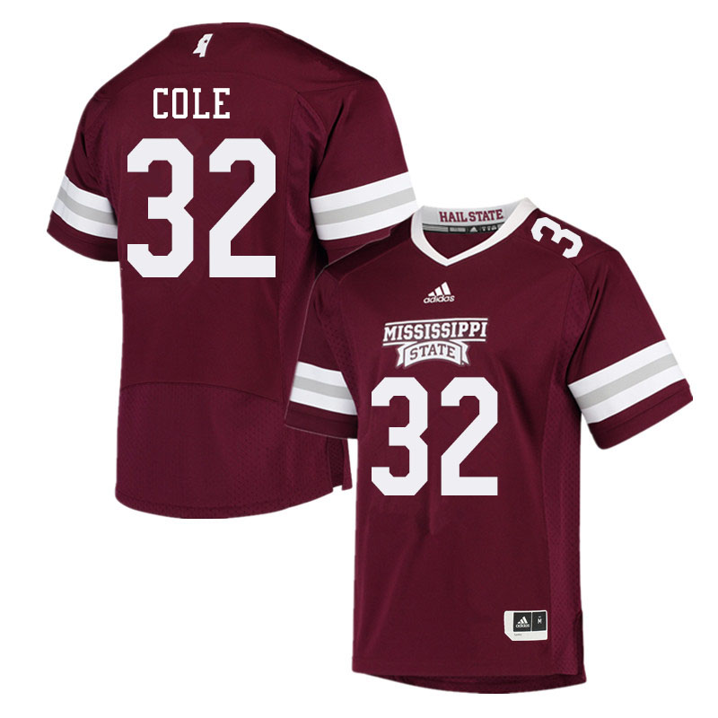 Men #32 Brian Cole Mississippi State Bulldogs College Football Jerseys Sale-Maroon