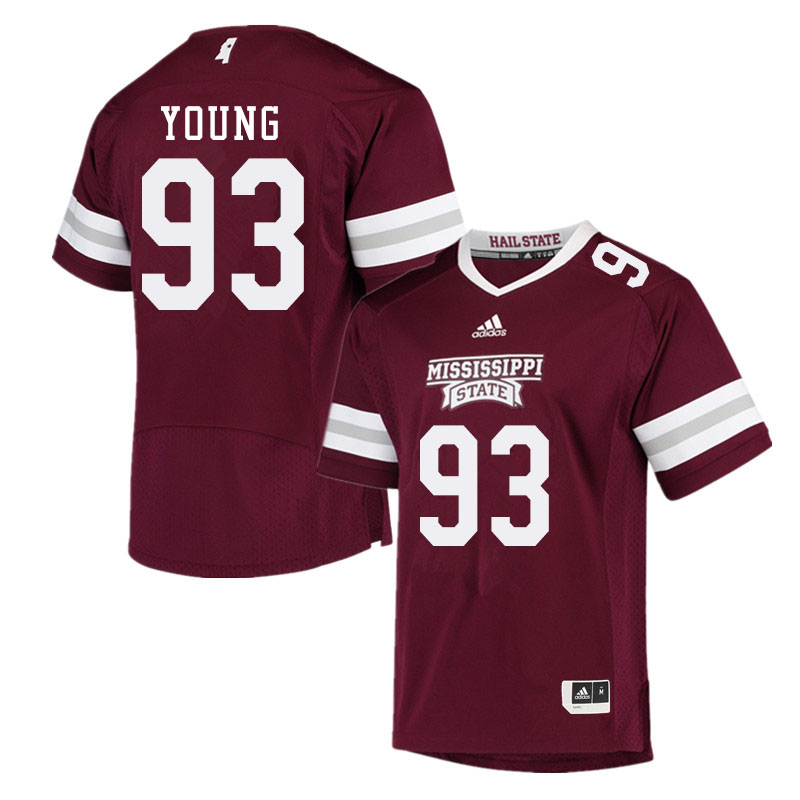 Men #93 Cameron Young Mississippi State Bulldogs College Football Jerseys Sale-Maroon