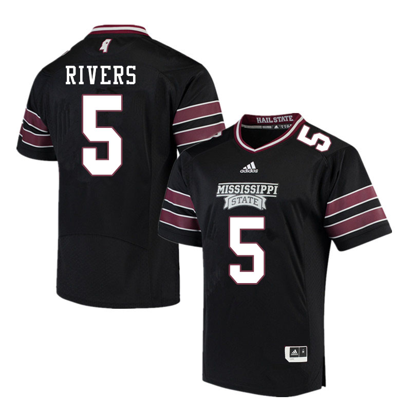 Men #5 Chauncey Rivers Mississippi State Bulldogs College Football Jerseys Sale-Black
