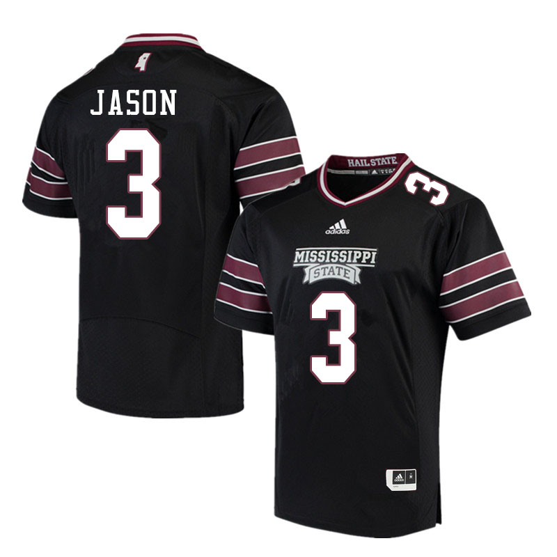 Men #3 Devonta Jason Mississippi State Bulldogs College Football Jerseys Sale-Black