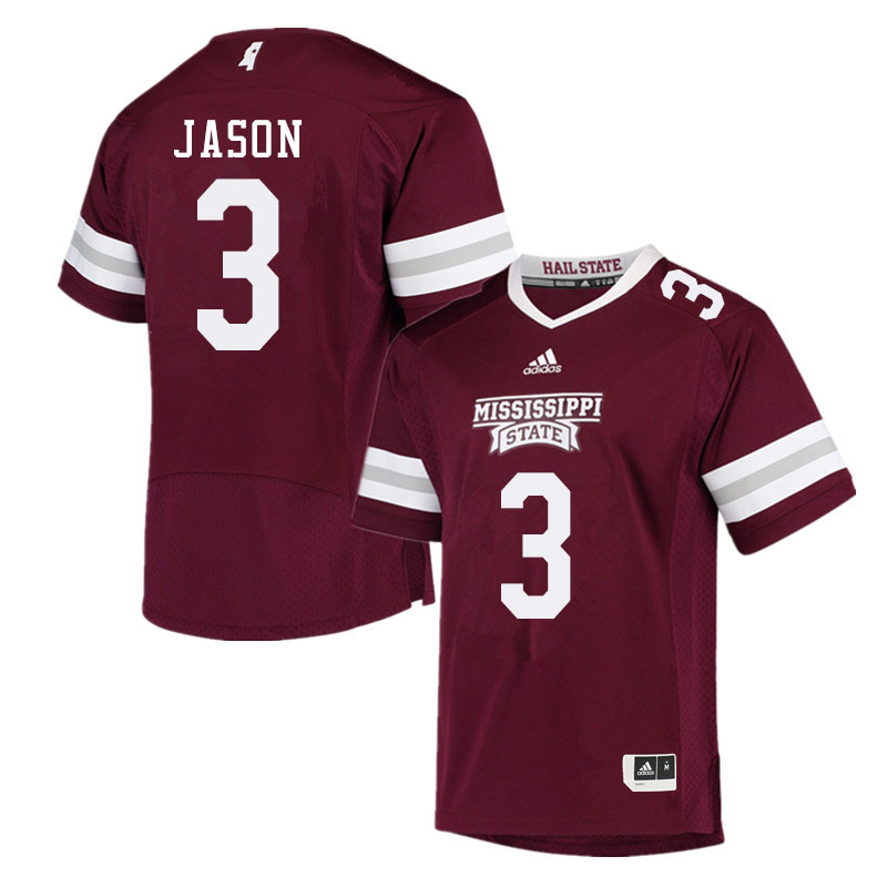 Men #3 Devonta Jason Mississippi State Bulldogs College Football Jerseys Sale-Maroon