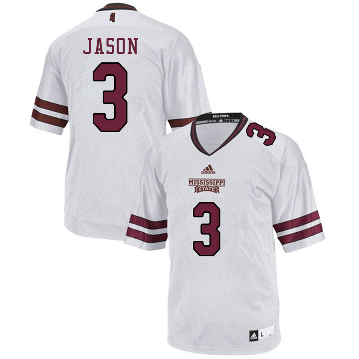 Men #3 Devonta Jason Mississippi State Bulldogs College Football Jerseys Sale-White