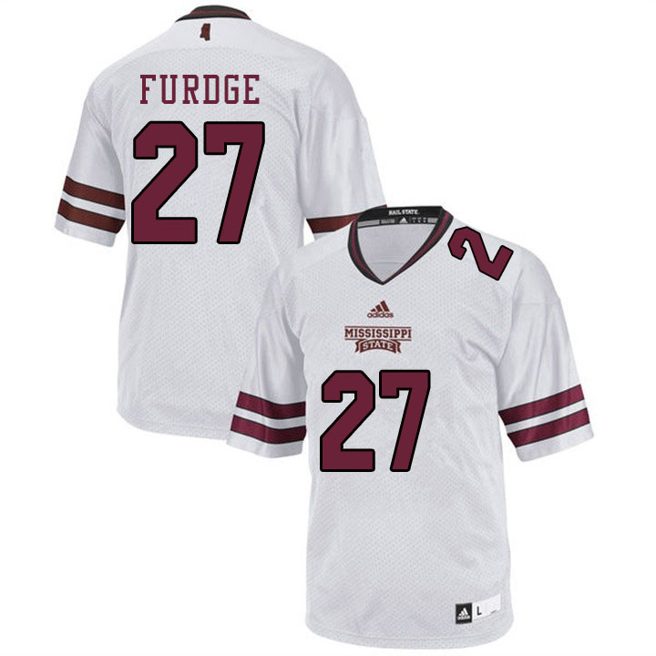 Men #27 Esaias Furdge Mississippi State Bulldogs College Football Jerseys Sale-White