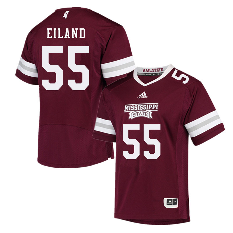 Men #55 Greg Eiland Mississippi State Bulldogs College Football Jerseys Sale-Maroon