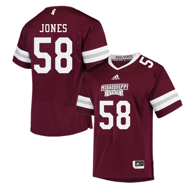 Men #58 Kameron Jones Mississippi State Bulldogs College Football Jerseys Sale-Maroon