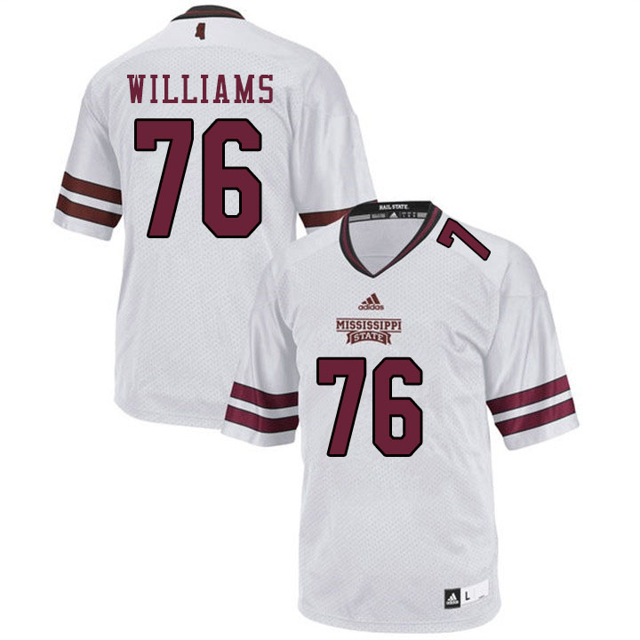 Men #76 Kieran Williams Mississippi State Bulldogs College Football Jerseys Sale-White