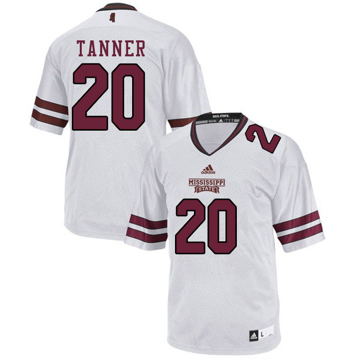 Men #20 Lee Tanner Mississippi State Bulldogs College Football Jerseys Sale-White