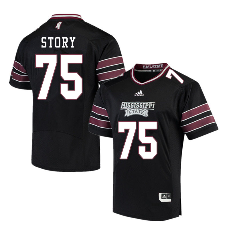 Men #75 Michael Story Mississippi State Bulldogs College Football Jerseys Sale-Black