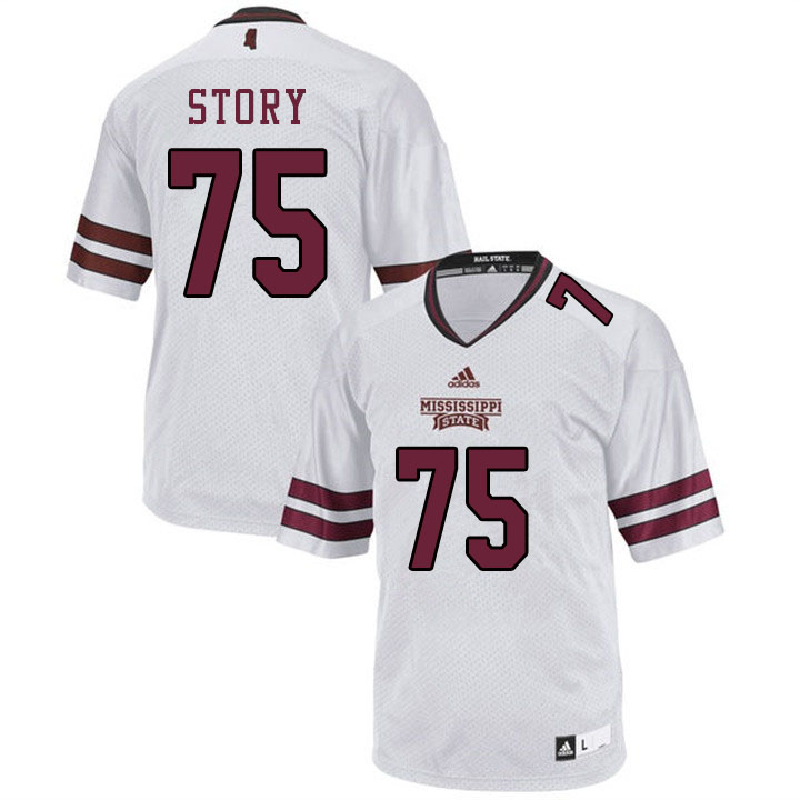 Men #75 Michael Story Mississippi State Bulldogs College Football Jerseys Sale-White