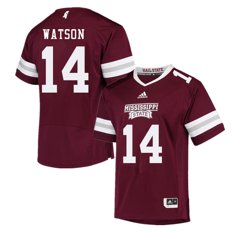 Men #14 Nathaniel Watson Mississippi State Bulldogs College Football Jerseys Sale-Maroon