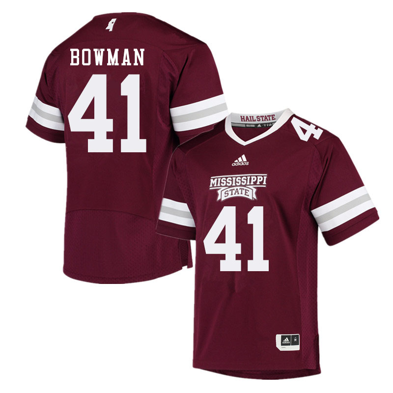 Men #41 Reed Bowman Mississippi State Bulldogs College Football Jerseys Sale-Maroon