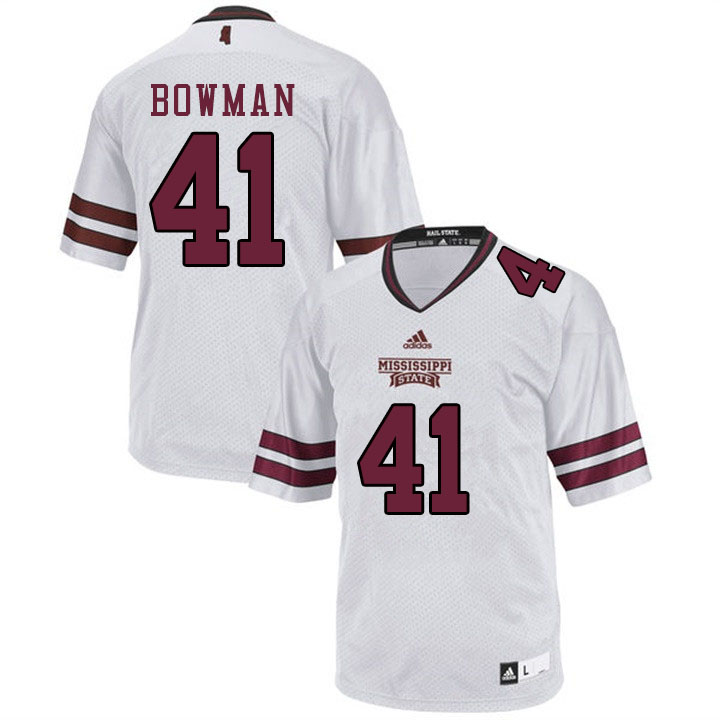 Men #41 Reed Bowman Mississippi State Bulldogs College Football Jerseys Sale-White