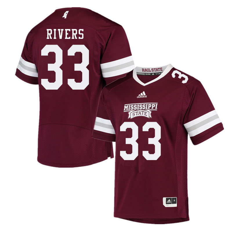 Men #33 Robert Rivers Mississippi State Bulldogs College Football Jerseys Sale-Maroon
