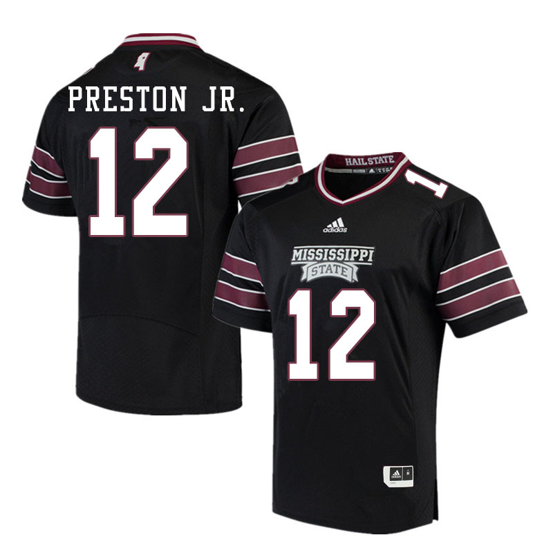 Men #12 Shawn Preston Jr. Mississippi State Bulldogs College Football Jerseys Sale-Black