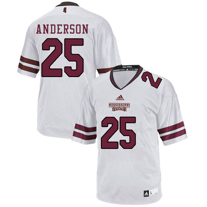 Men #25 Somon Anderson Mississippi State Bulldogs College Football Jerseys Sale-White