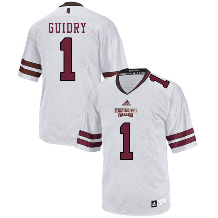 Men #1 Stephen Guidry Mississippi State Bulldogs College Football Jerseys Sale-White