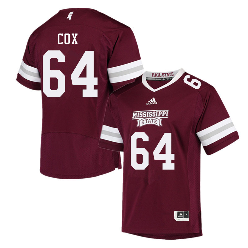 Men #64 Thomas Cox Mississippi State Bulldogs College Football Jerseys Sale-Maroon
