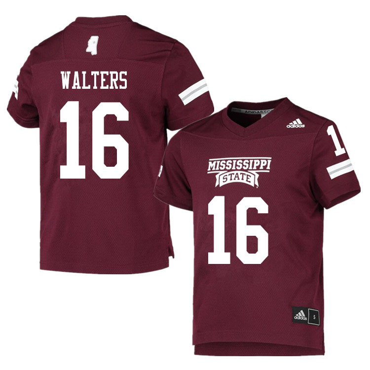 Men #16 Allen Walters Mississippi State Bulldogs College Football Jerseys Sale-Maroon