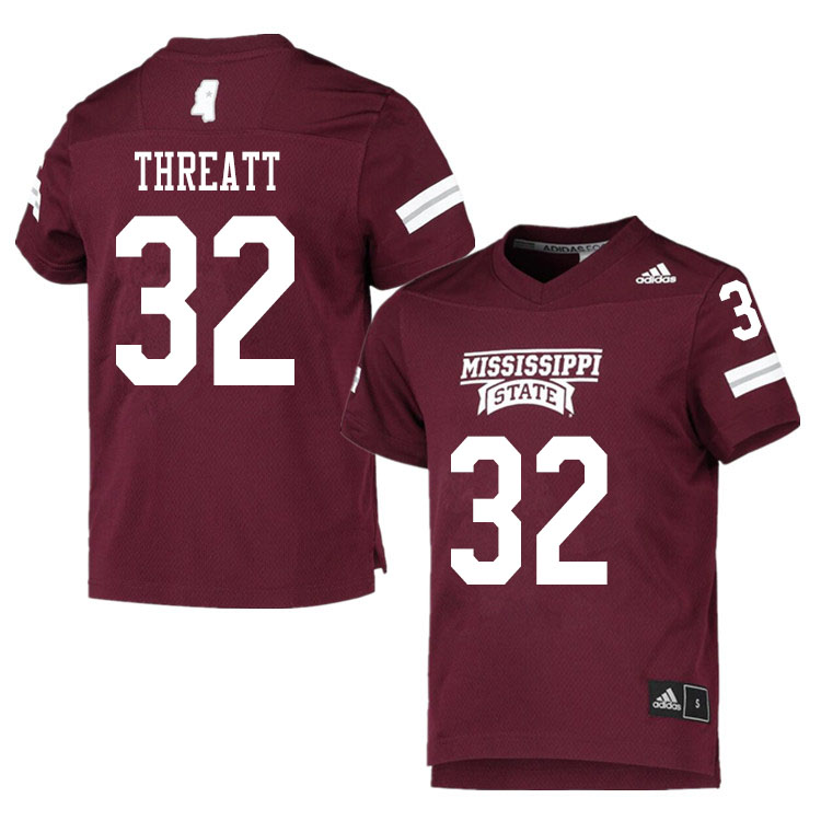 Men #32 Cam Threatt Mississippi State Bulldogs College Football Jerseys Sale-Maroon