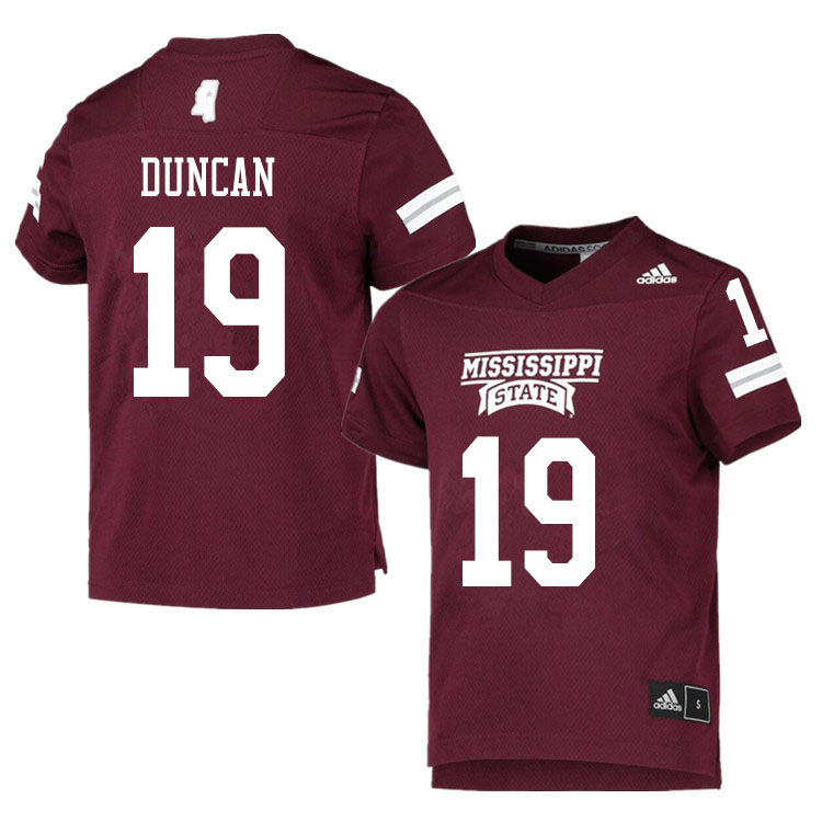 Men #19 Collin Duncan Mississippi State Bulldogs College Football Jerseys Sale-Maroon