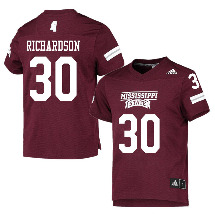 Men #30 Decamerion Richardson Mississippi State Bulldogs College Football Jerseys Sale-Maroon