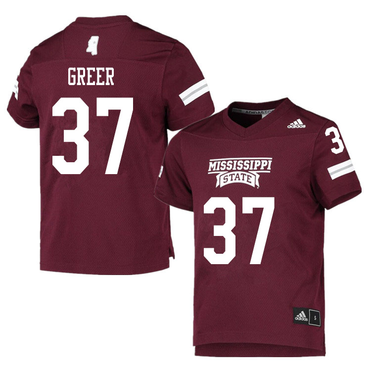 Men #37 Haze Greer Mississippi State Bulldogs College Football Jerseys Sale-Maroon