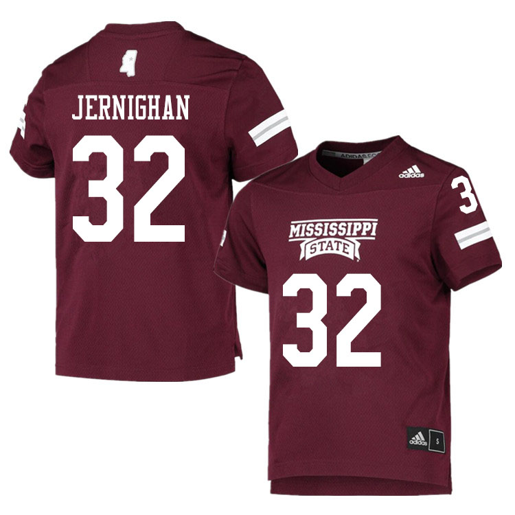 Men #32 J.J. Jernighan Mississippi State Bulldogs College Football Jerseys Sale-Maroon