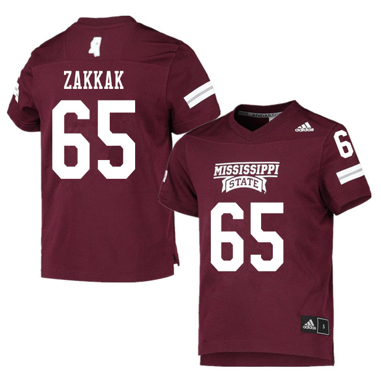 Men #65 JT Zakkak Mississippi State Bulldogs College Football Jerseys Sale-Maroon