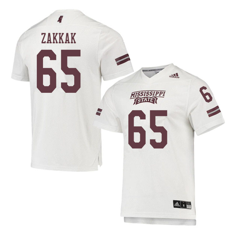 Men #65 JT Zakkak Mississippi State Bulldogs College Football Jerseys Sale-White