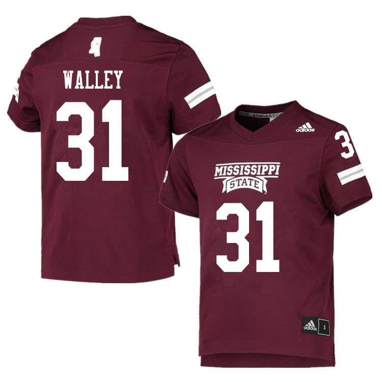 Men #31 Jaden Walley Mississippi State Bulldogs College Football Jerseys Sale-Maroon