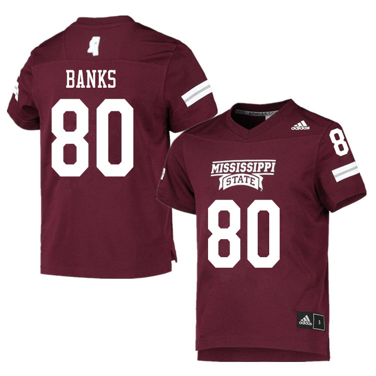 Men #80 Jay Banks Mississippi State Bulldogs College Football Jerseys Sale-Maroon