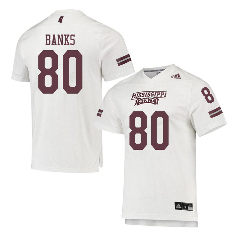 Men #80 Jay Banks Mississippi State Bulldogs College Football Jerseys Sale-White