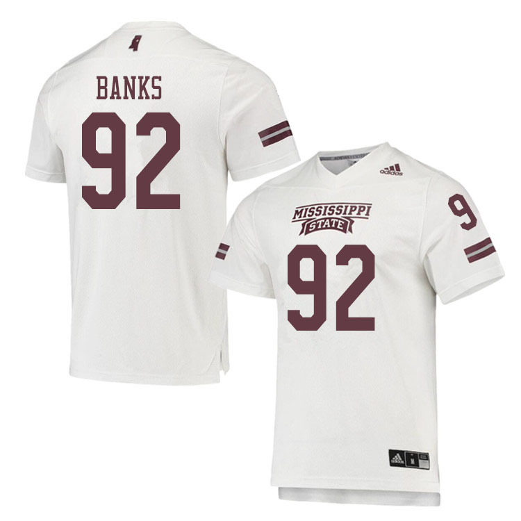 Men #92 Jevon Banks Mississippi State Bulldogs College Football Jerseys Sale-White