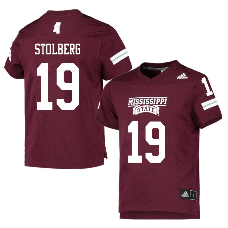 Men #19 Justin Stolberg Mississippi State Bulldogs College Football Jerseys Sale-Maroon