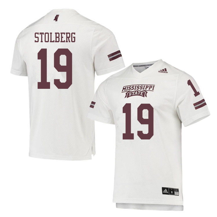 Men #19 Justin Stolberg Mississippi State Bulldogs College Football Jerseys Sale-White