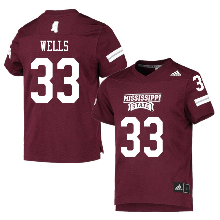 Men #33 Omni Wells Mississippi State Bulldogs College Football Jerseys Sale-Maroon