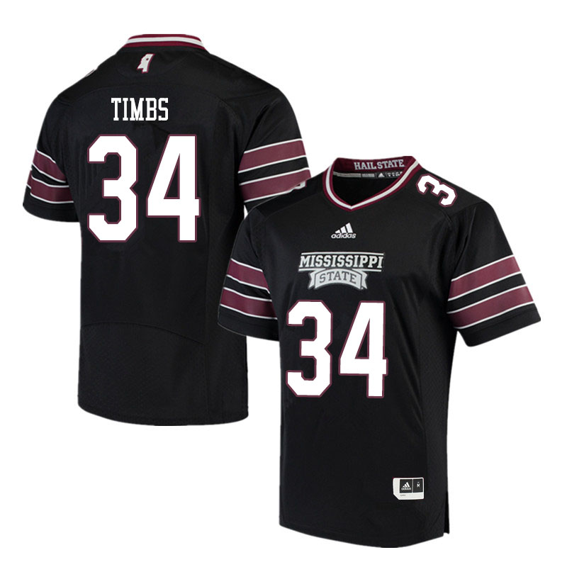 Men #34 Sherman Timbs Mississippi State Bulldogs College Football Jerseys Sale-Black