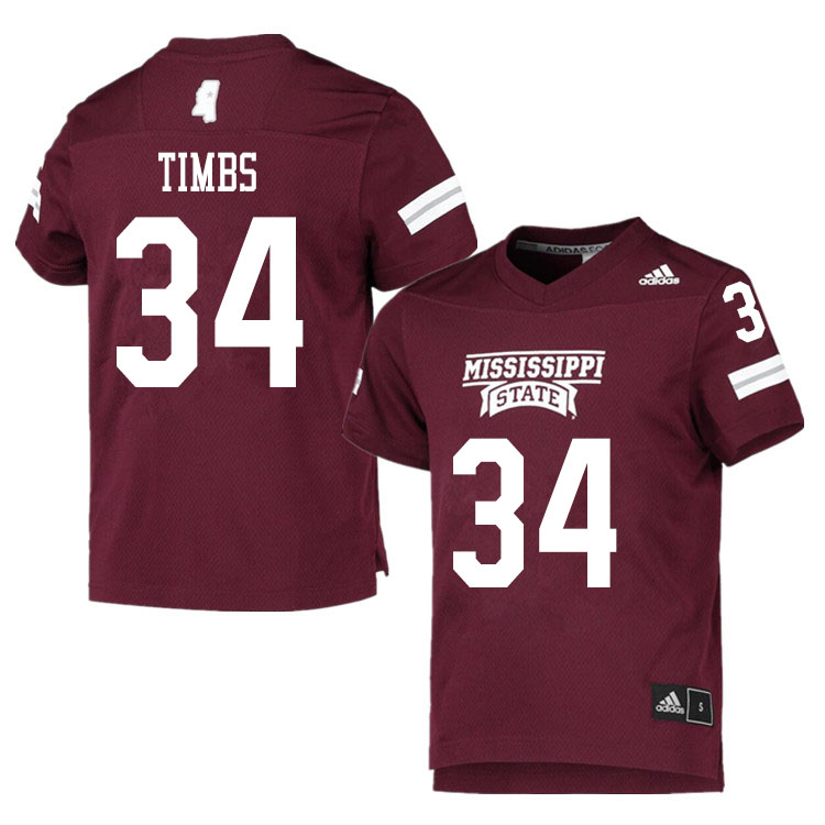 Men #34 Sherman Timbs Mississippi State Bulldogs College Football Jerseys Sale-Maroon