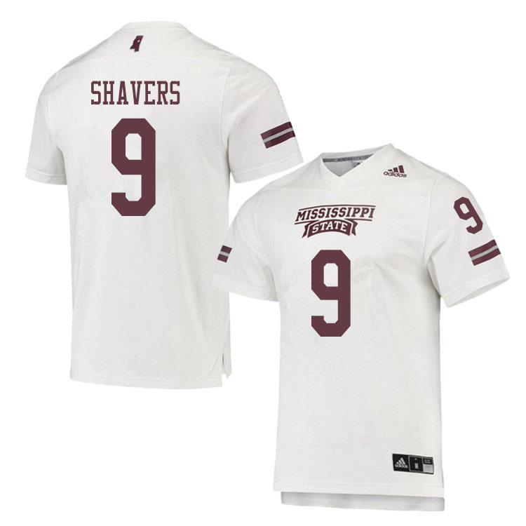 Men #9 Tyrell Shavers Mississippi State Bulldogs College Football Jerseys Sale-White