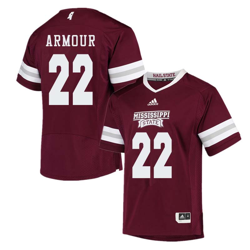Men #22 Blake Armour Mississippi State Bulldogs College Football Jerseys Sale-Maroon