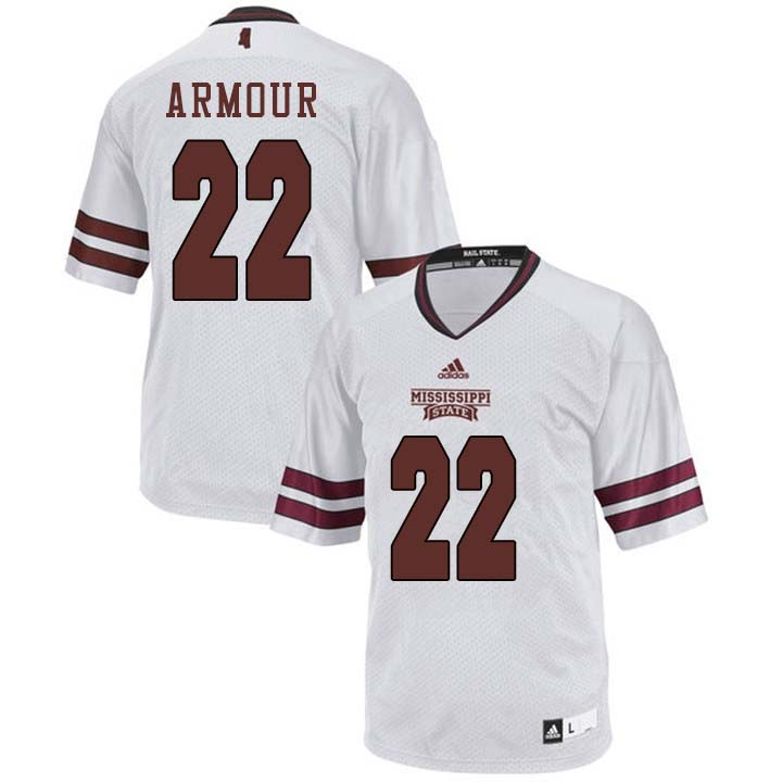 Men #22 Blake Armour Mississippi State Bulldogs College Football Jerseys Sale-White