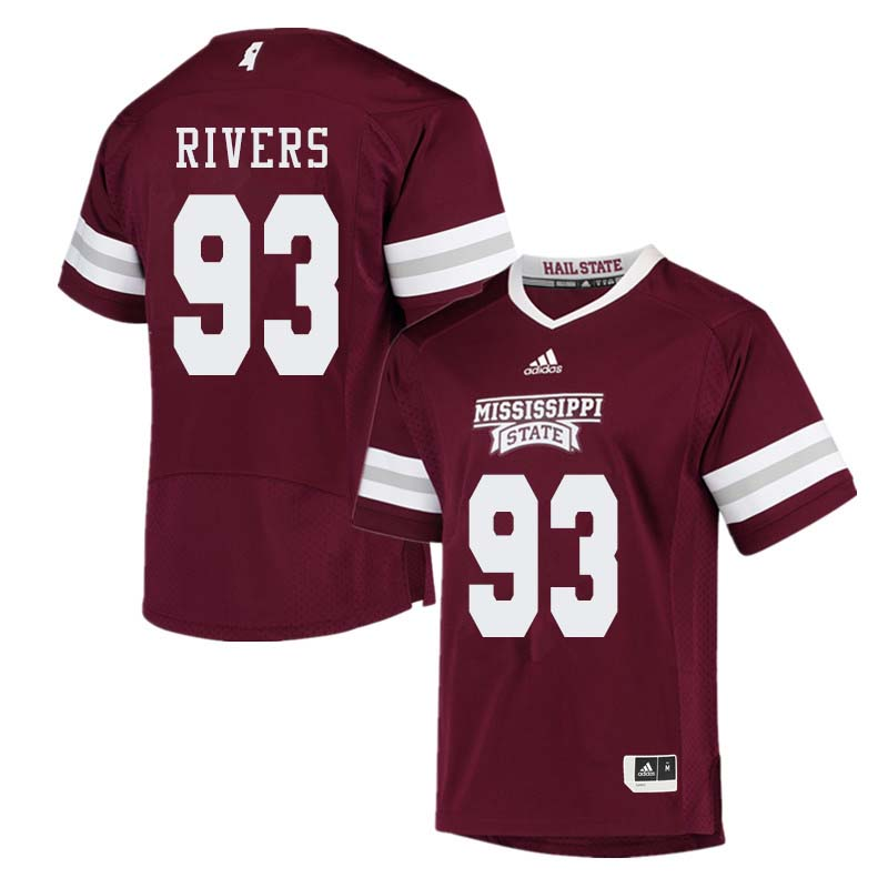 Men #93 Chauncey Rivers Mississippi State Bulldogs College Football Jerseys Sale-Maroon