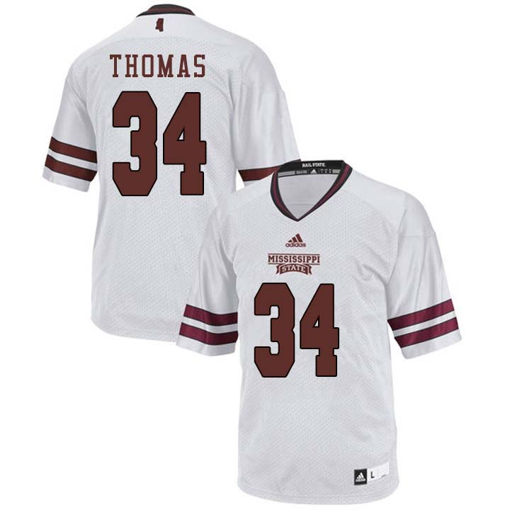 Men #34 Cory Thomas Mississippi State Bulldogs College Football Jerseys Sale-White