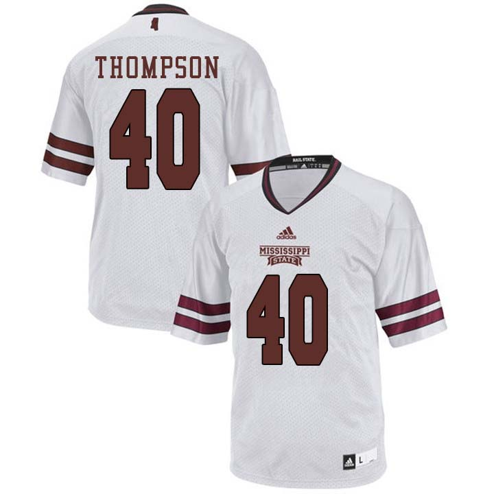 Men #40 Erroll Thompson Mississippi State Bulldogs College Football Jerseys Sale-White