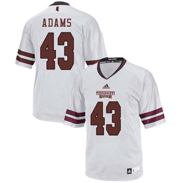 Men #43 Fletcher Adams Mississippi State Bulldogs College Football Jerseys Sale-White