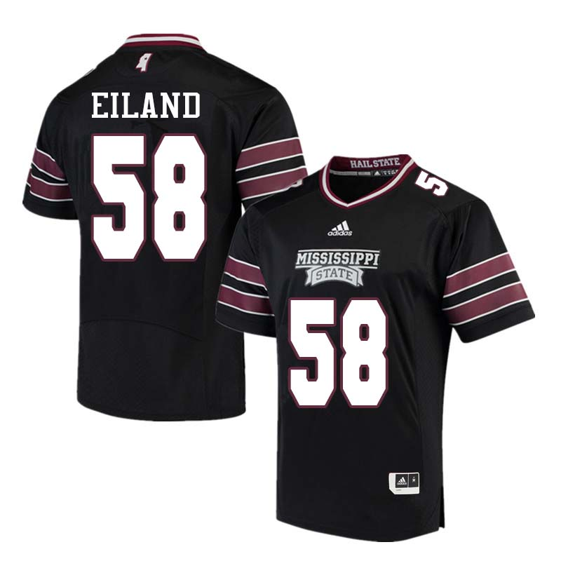 Men #58 Greg Eiland Mississippi State Bulldogs College Football Jerseys Sale-Black