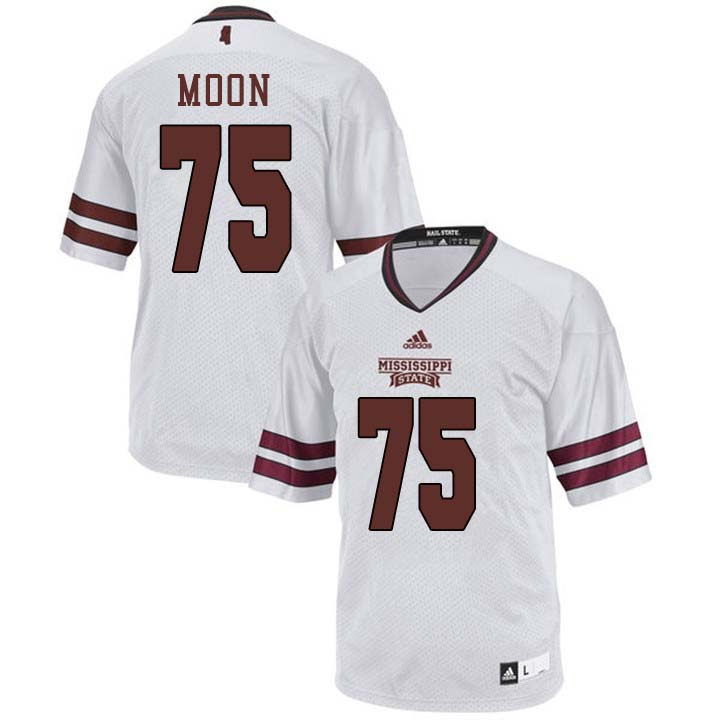 Men #75 Harrison Moon Mississippi State Bulldogs College Football Jerseys Sale-White